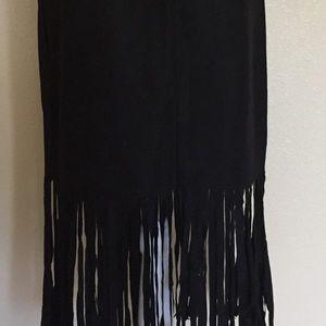 Vintage Skirts - Vintage High Waisted Fringe Skirt
